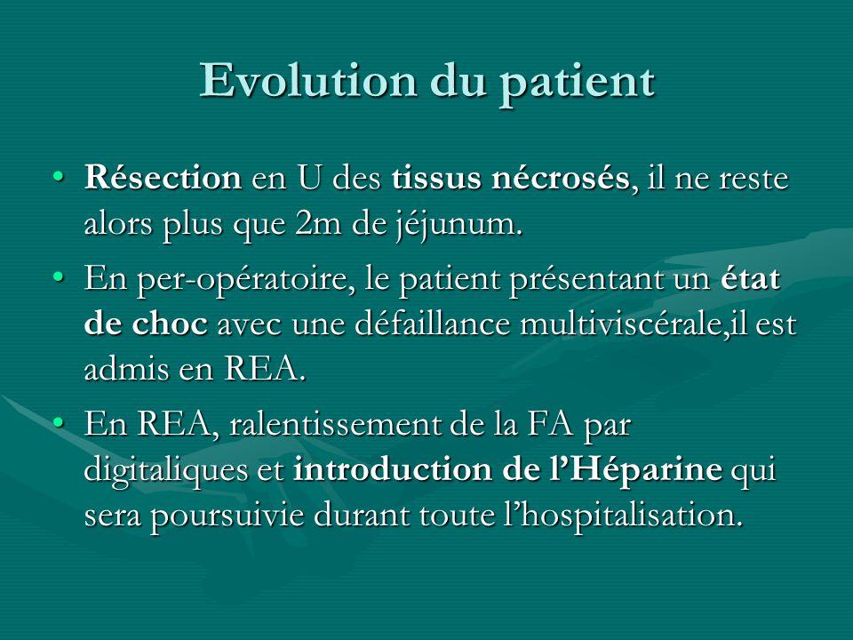 Evolution du patient Résection en U des tissus nécrosés, il ne reste alors plus que 2m de jéjunum.