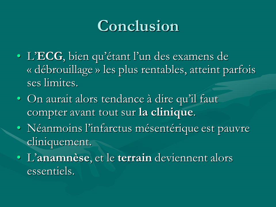 Conclusion L'ECG, bien qu'étant l'un des examens de « débrouillage » les plus rentables, atteint parfois ses limites.