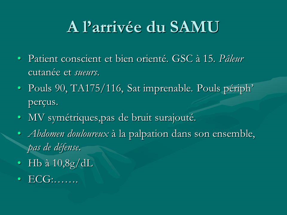 A l'arrivée du SAMU Patient conscient et bien orienté. GSC à 15. Pâleur cutanée et sueurs.
