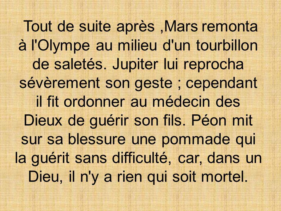 Tout de suite après ,Mars remonta à l Olympe au milieu d un tourbillon de saletés.