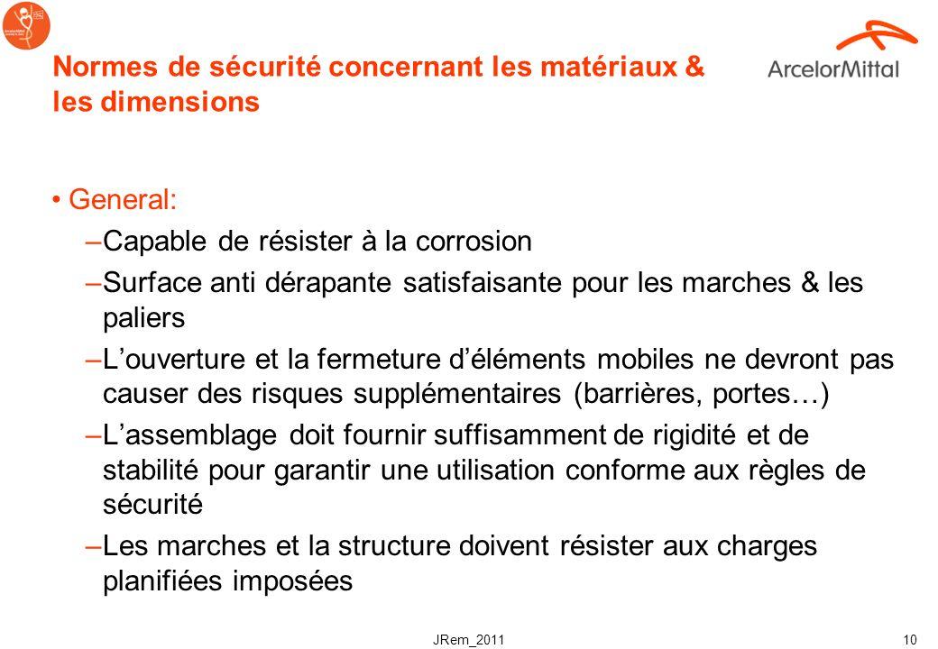 Normes de sécurité concernant les matériaux & les dimensions