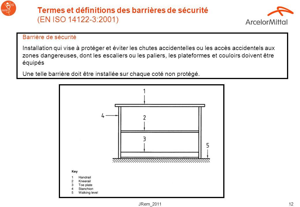 Termes et définitions des barrières de sécurité (EN ISO 14122-3:2001)
