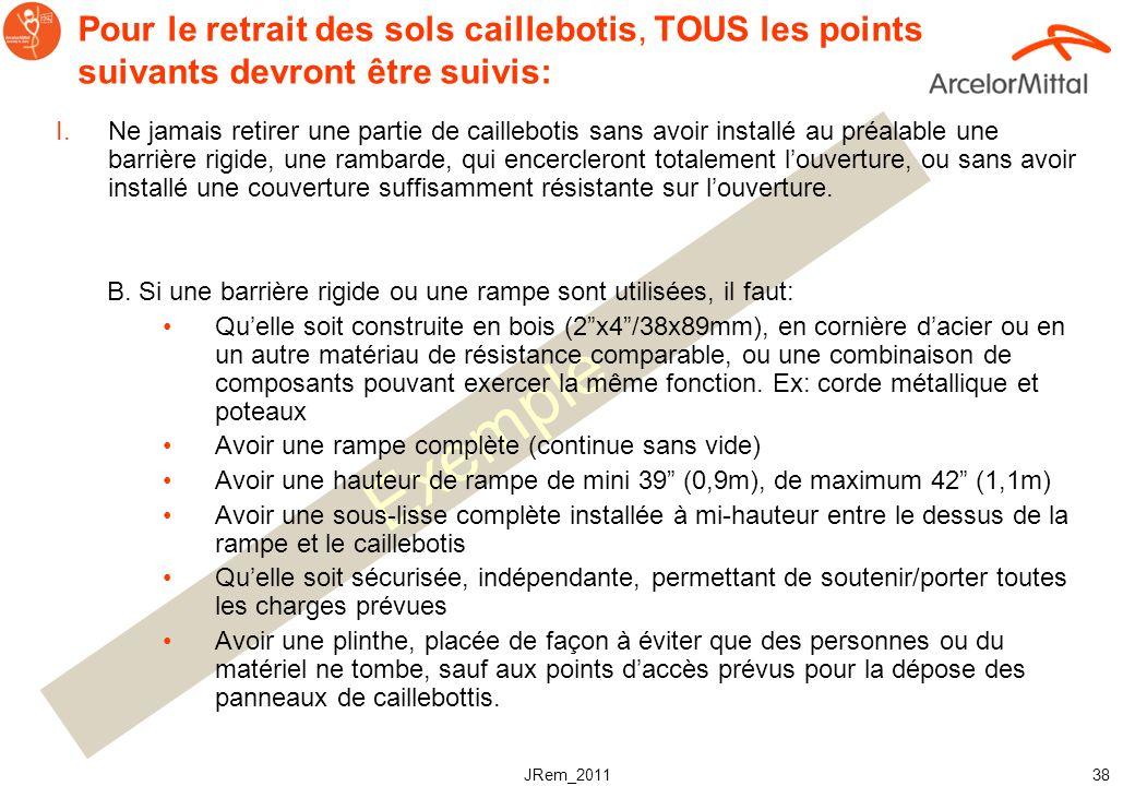 Pour le retrait des sols caillebotis, TOUS les points suivants devront être suivis: