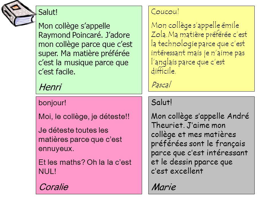 Henri Coralie Marie Salut!