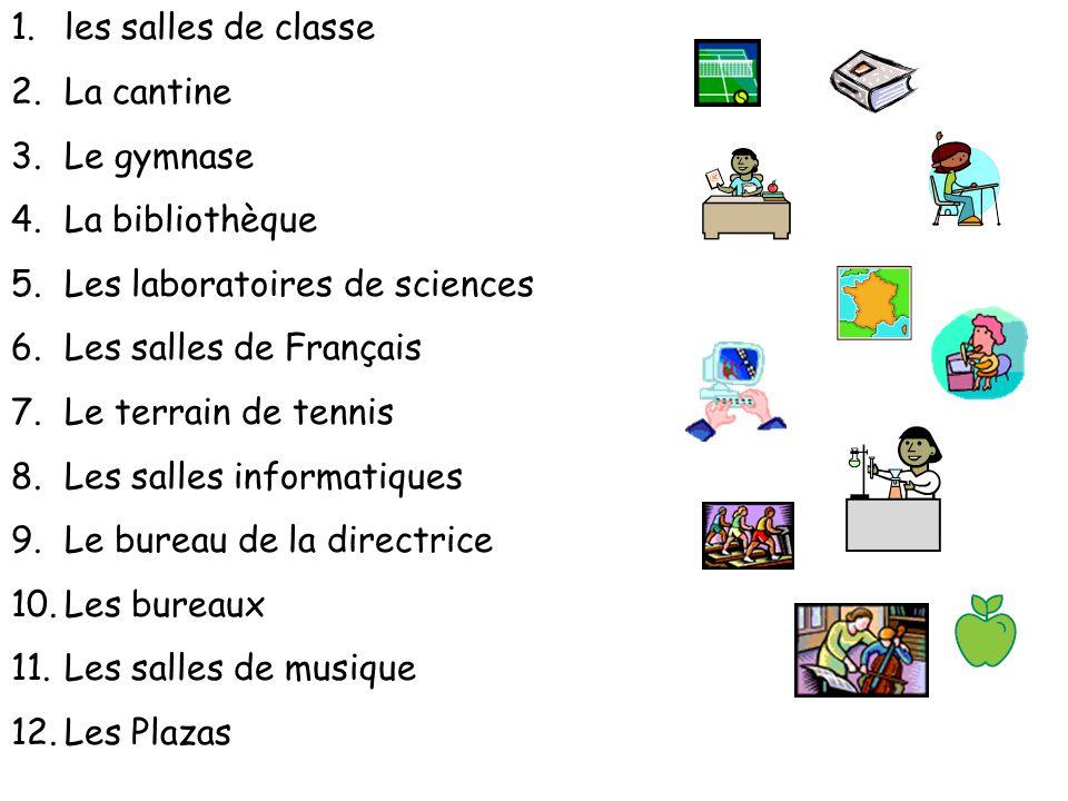 les salles de classe La cantine. Le gymnase. La bibliothèque. Les laboratoires de sciences. Les salles de Français.