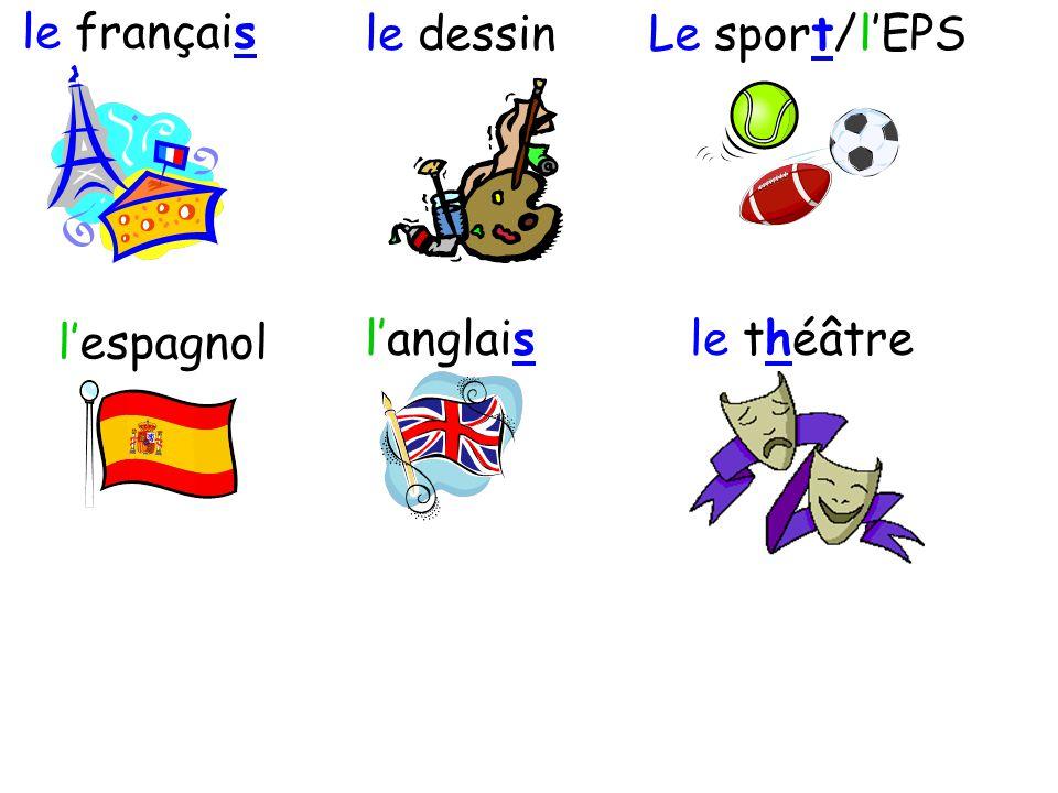 le français le dessin Le sport/l'EPS l'espagnol l'anglais le théâtre