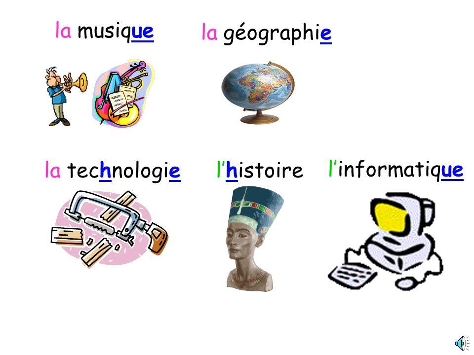 la musique la géographie la technologie l'histoire l'informatique