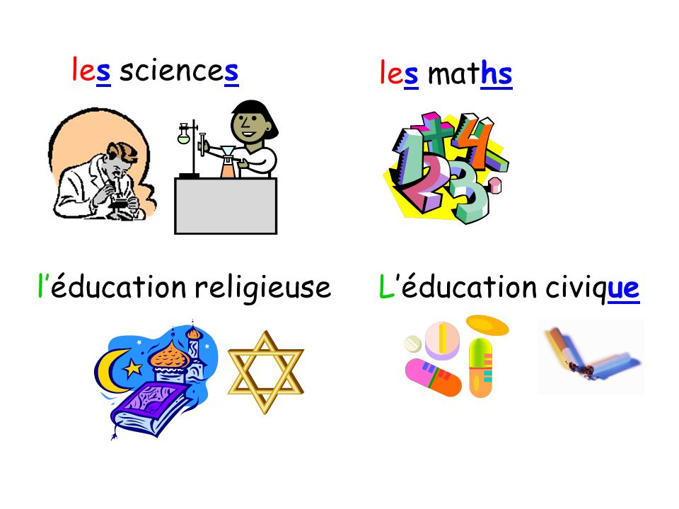 les sciences les maths l'éducation religieuse L'éducation civique