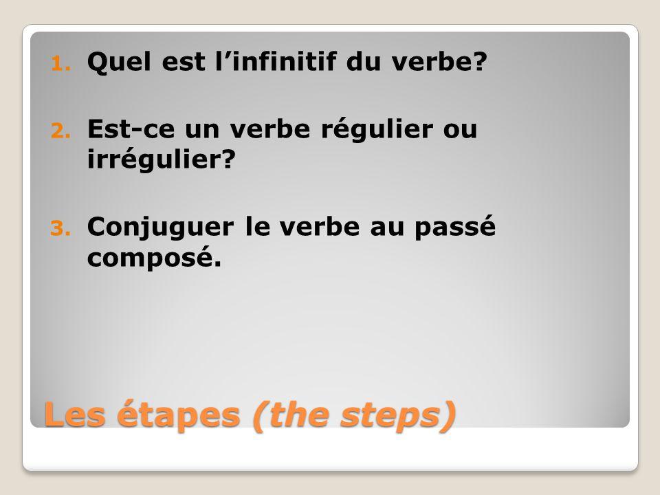 Les étapes (the steps) Quel est l'infinitif du verbe