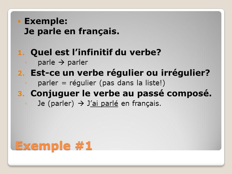 Exemple #1 Exemple: Je parle en français.