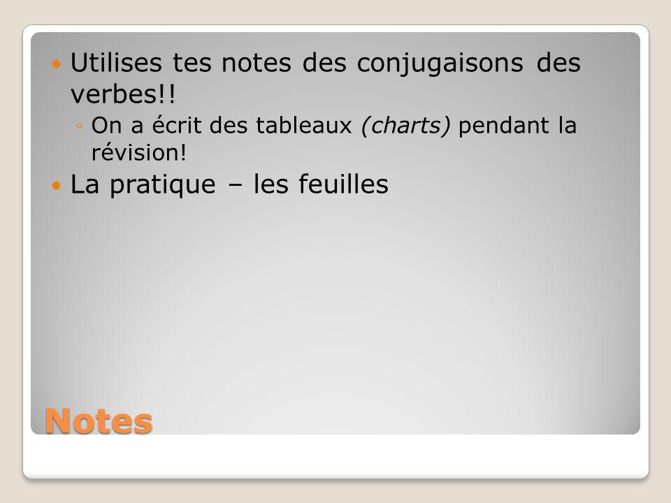 Notes Utilises tes notes des conjugaisons des verbes!!