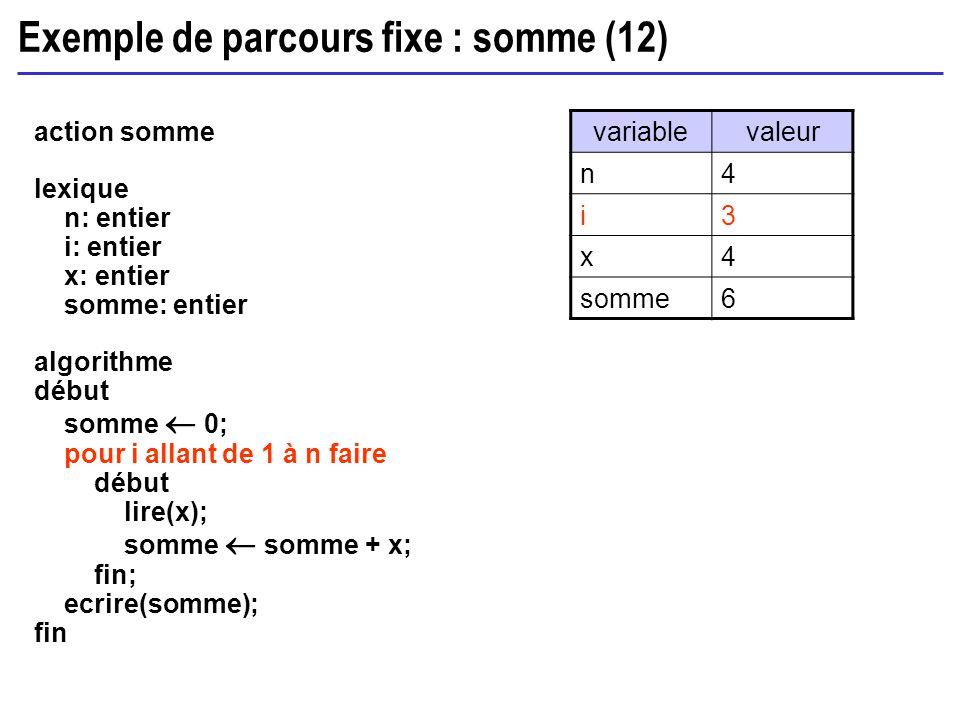 Exemple de parcours fixe : somme (12)