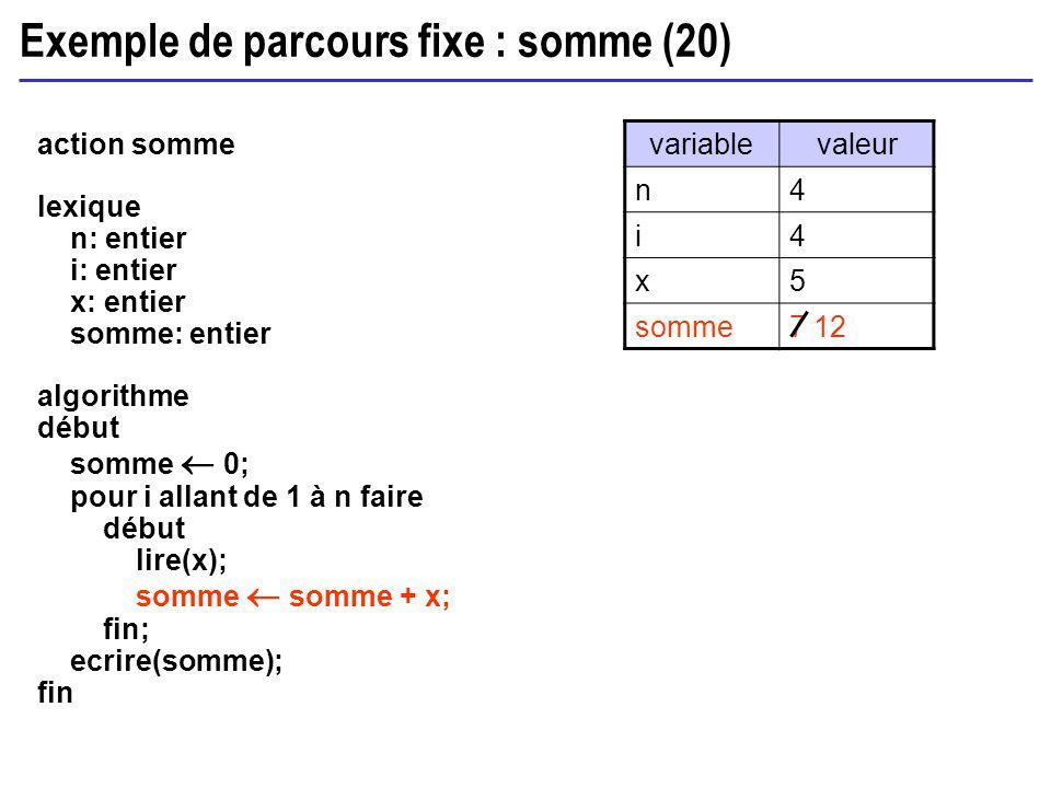 Exemple de parcours fixe : somme (20)