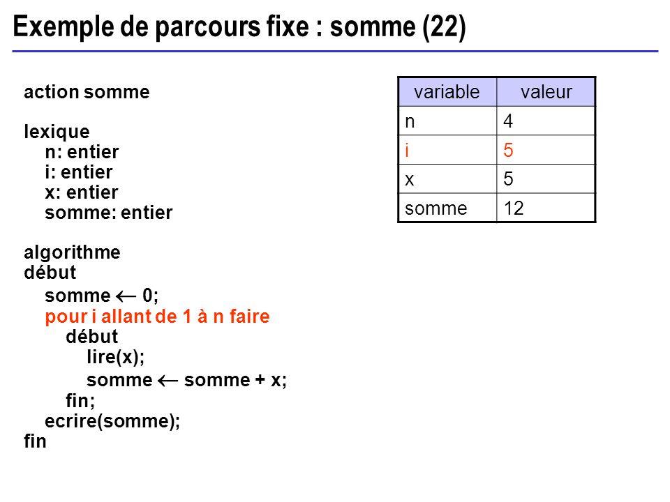 Exemple de parcours fixe : somme (22)