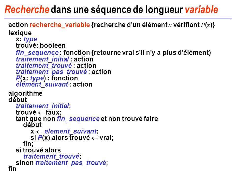 Recherche dans une séquence de longueur variable