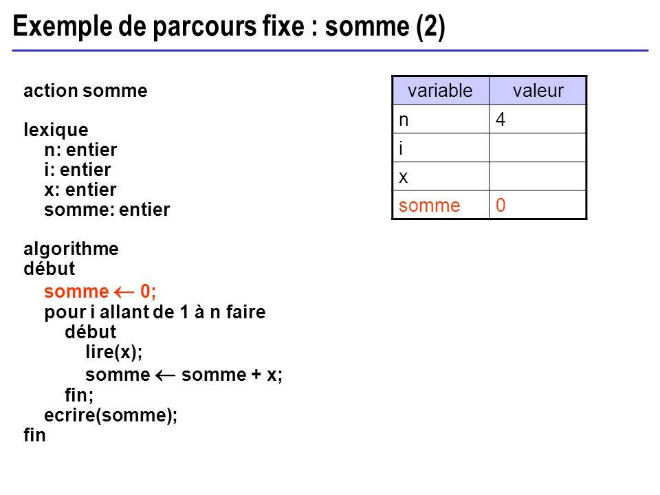Exemple de parcours fixe : somme (2)