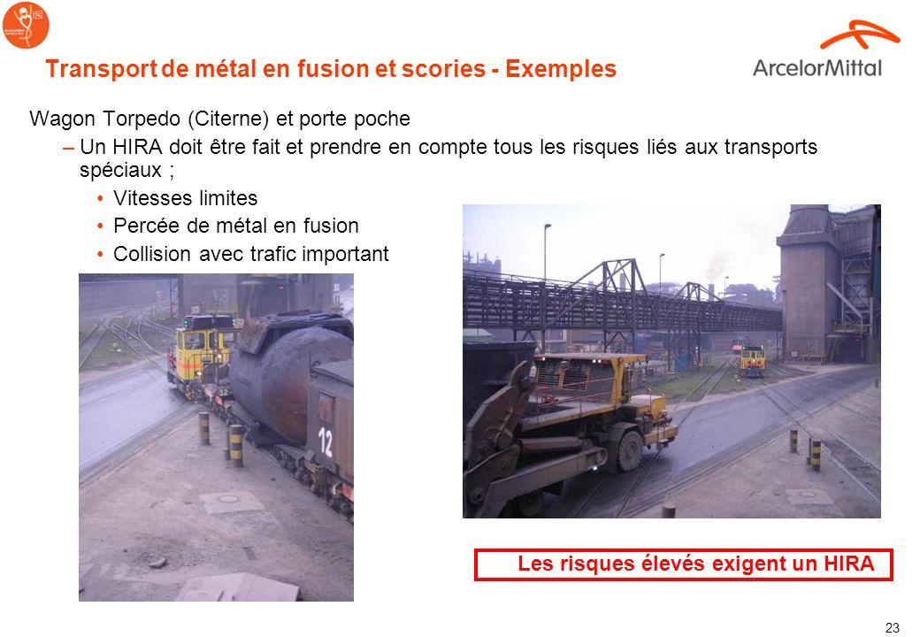 Transport de métal en fusion et scories - Exemples