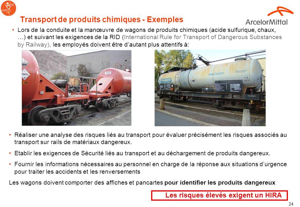 Transport de produits chimiques - Exemples