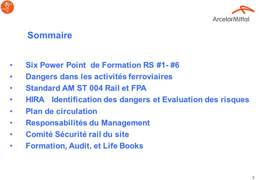 Sommaire Six Power Point de Formation RS #1- #6