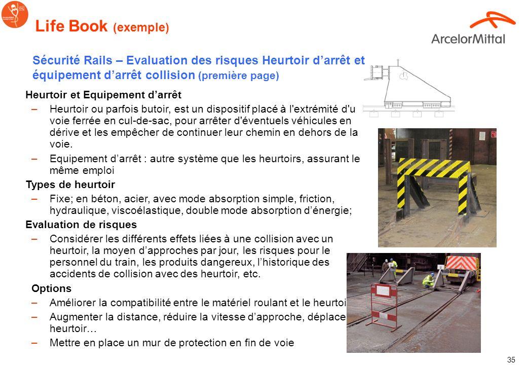 Life Book (exemple)Sécurité Rails – Evaluation des risques Heurtoir d'arrêt et équipement d'arrêt collision (première page)