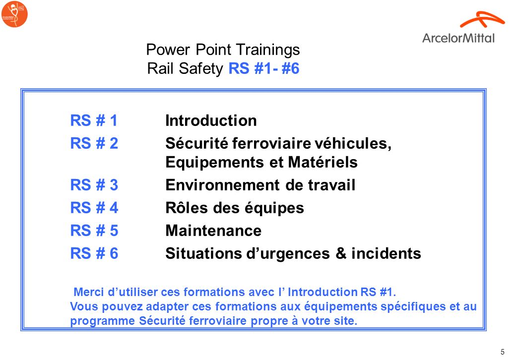 Power Point Trainings Rail Safety RS #1- #6