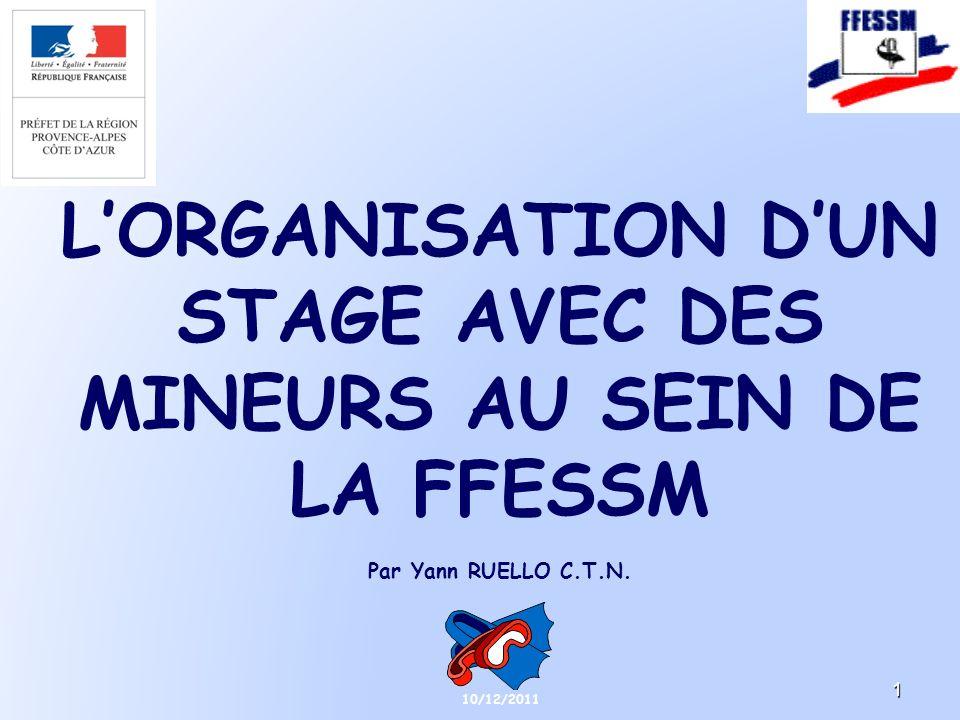 L'ORGANISATION D'UN STAGE AVEC DES MINEURS AU SEIN DE LA FFESSM