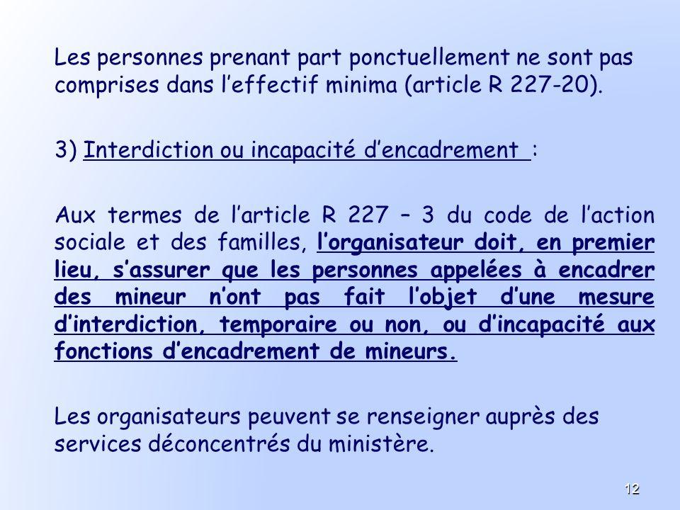 Les personnes prenant part ponctuellement ne sont pas comprises dans l'effectif minima (article R 227-20).