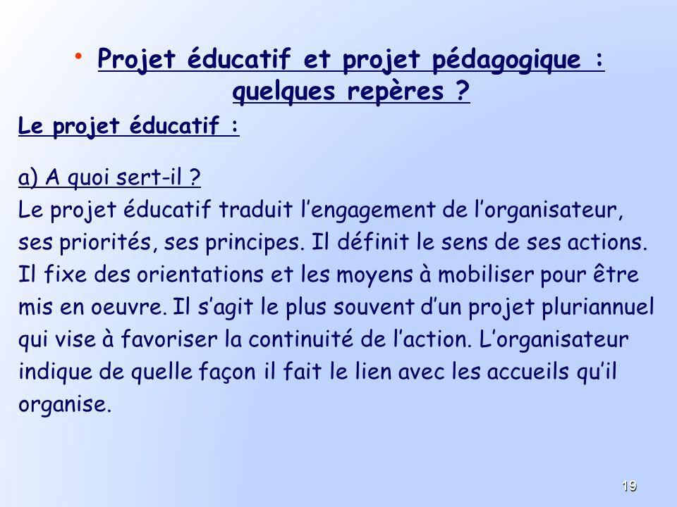 Projet éducatif et projet pédagogique : quelques repères