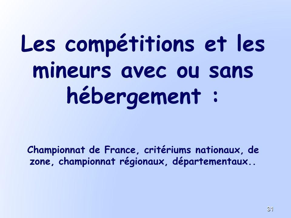 Les compétitions et les mineurs avec ou sans hébergement :