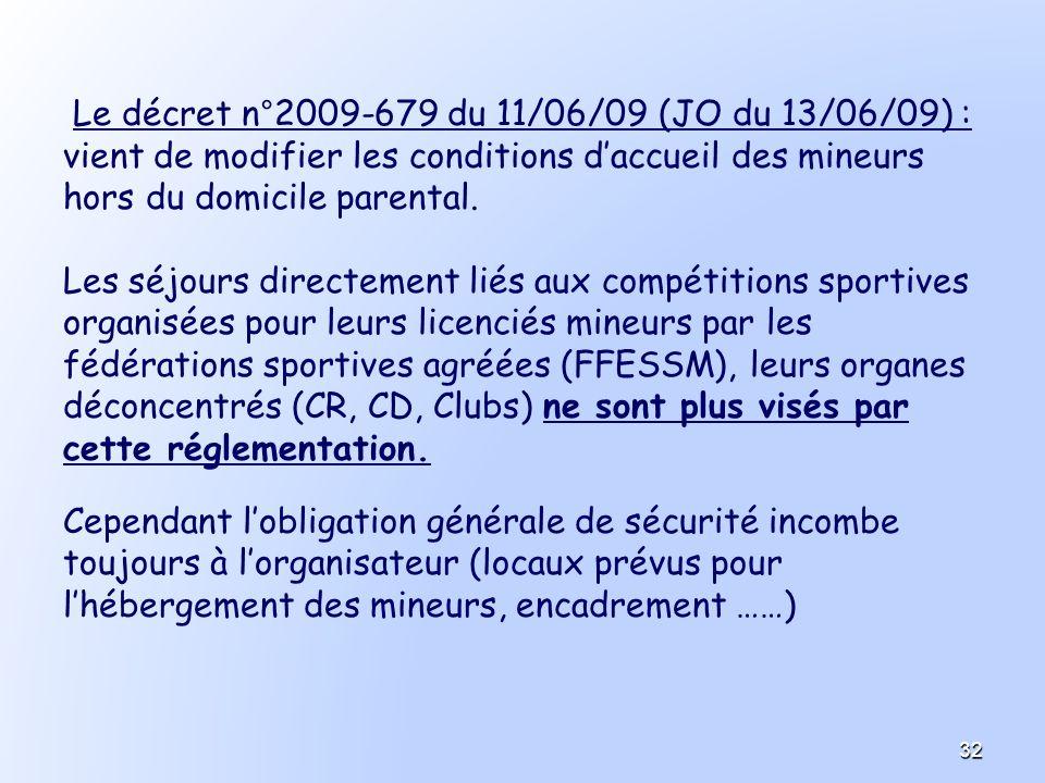 Le décret n°2009-679 du 11/06/09 (JO du 13/06/09) :