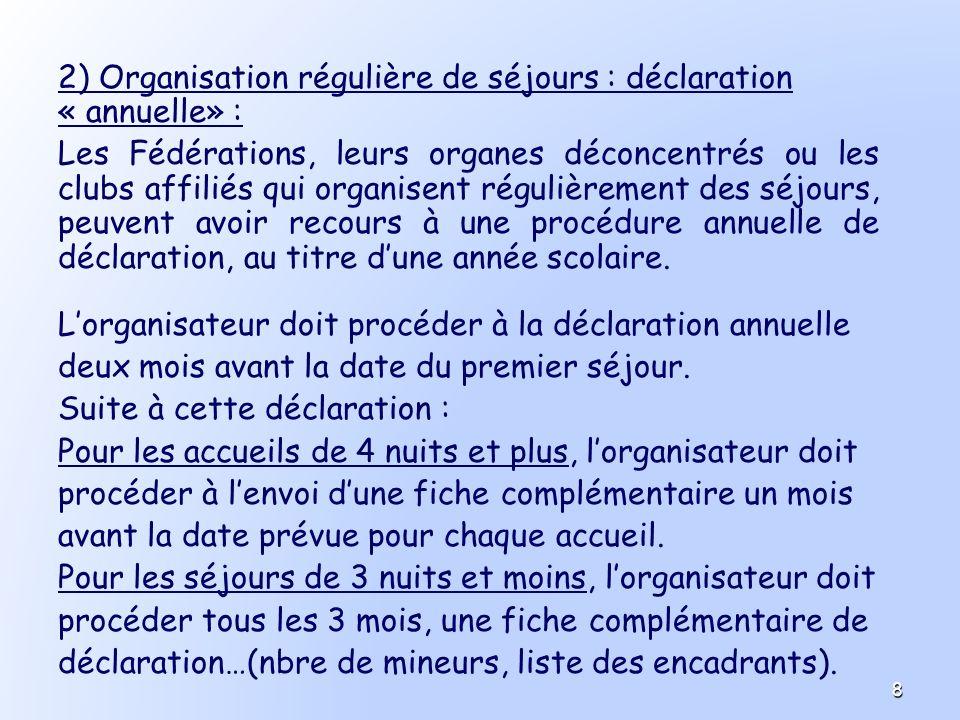 2) Organisation régulière de séjours : déclaration « annuelle» :