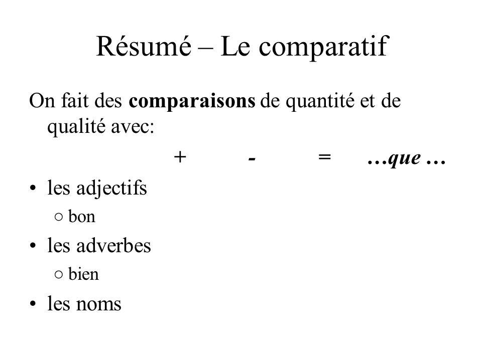 Résumé – Le comparatif On fait des comparaisons de quantité et de qualité avec: + - = …que …