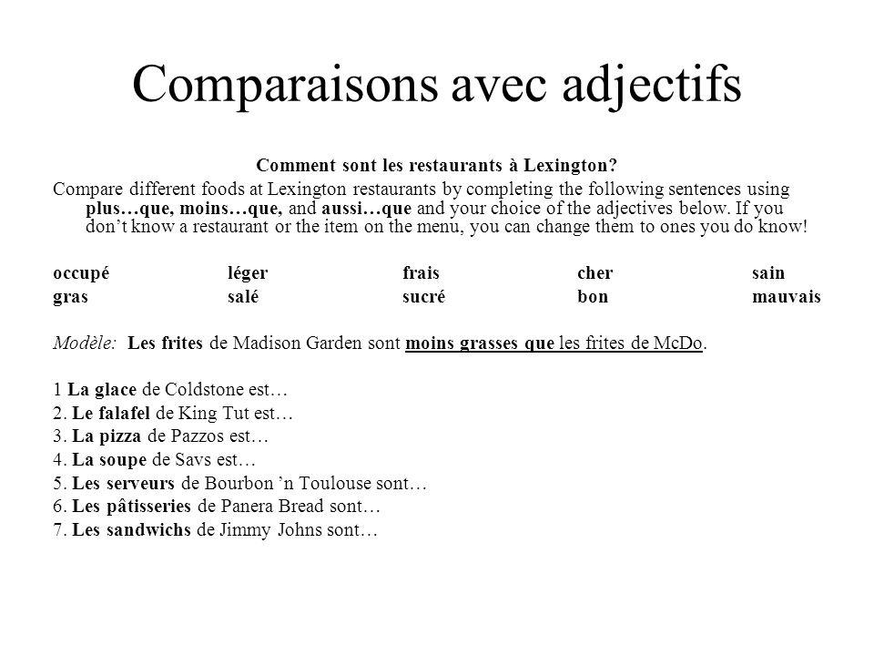 Comparaisons avec adjectifs