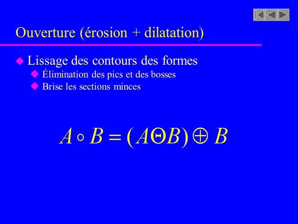Ouverture (érosion + dilatation)