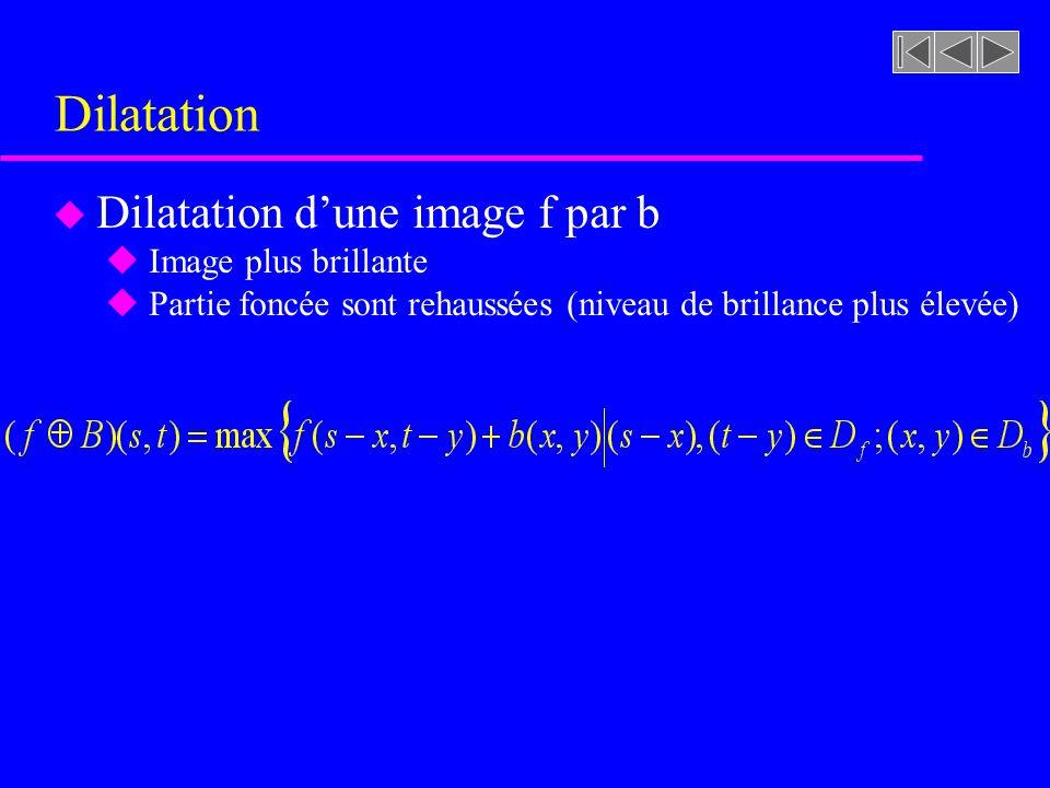 Dilatation Dilatation d'une image f par b Image plus brillante