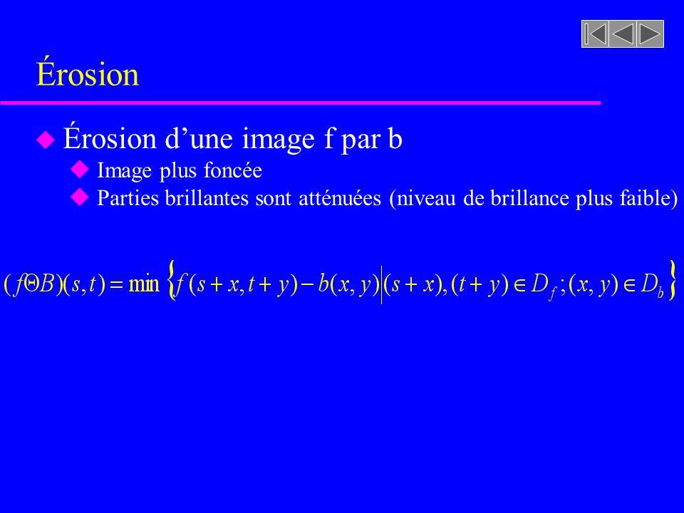 Érosion Érosion d'une image f par b Image plus foncée