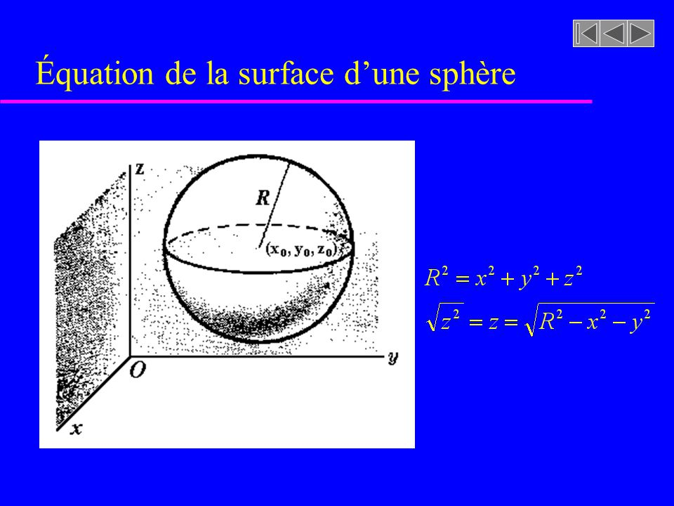Équation de la surface d'une sphère