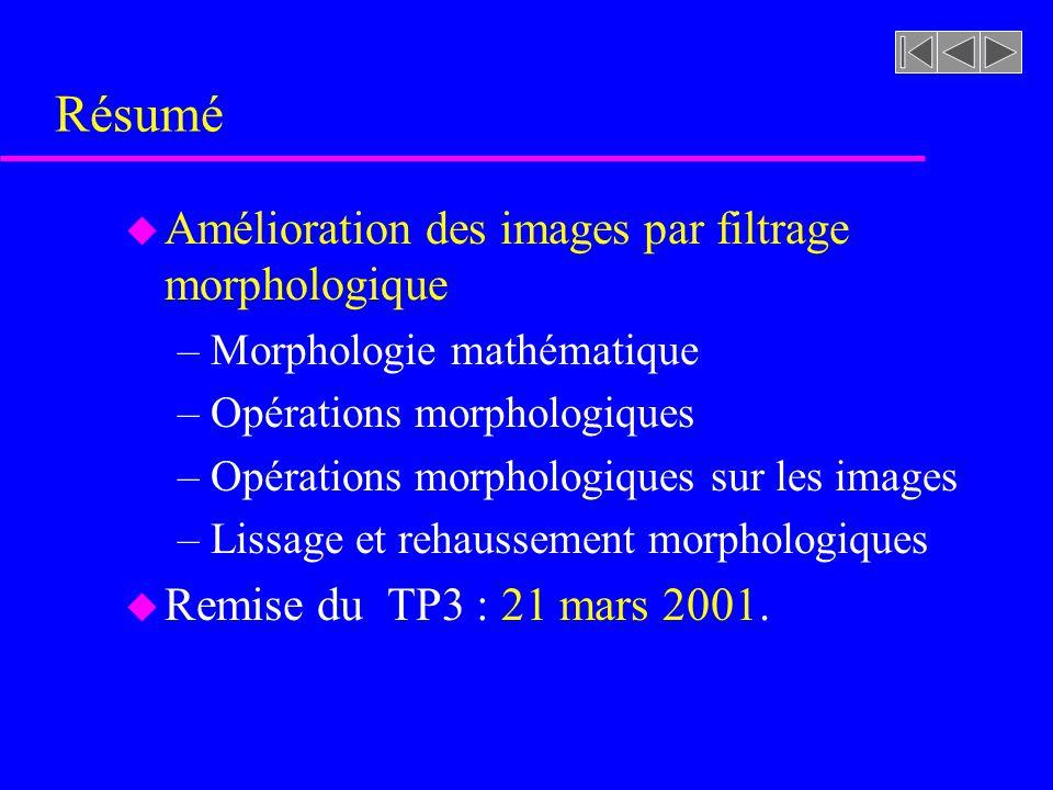 Résumé Amélioration des images par filtrage morphologique