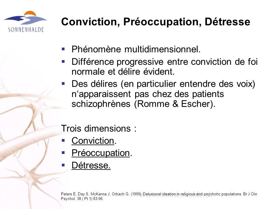 Conviction, Préoccupation, Détresse