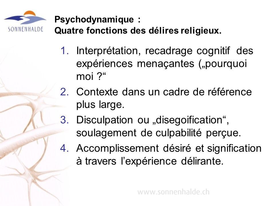 Psychodynamique : Quatre fonctions des délires religieux.