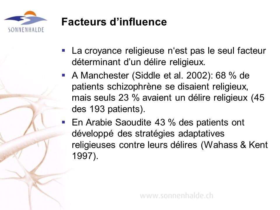 Facteurs d'influence La croyance religieuse n'est pas le seul facteur déterminant d'un délire religieux.