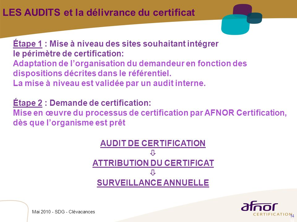 AUDIT DE CERTIFICATION ATTRIBUTION DU CERTIFICAT SURVEILLANCE ANNUELLE