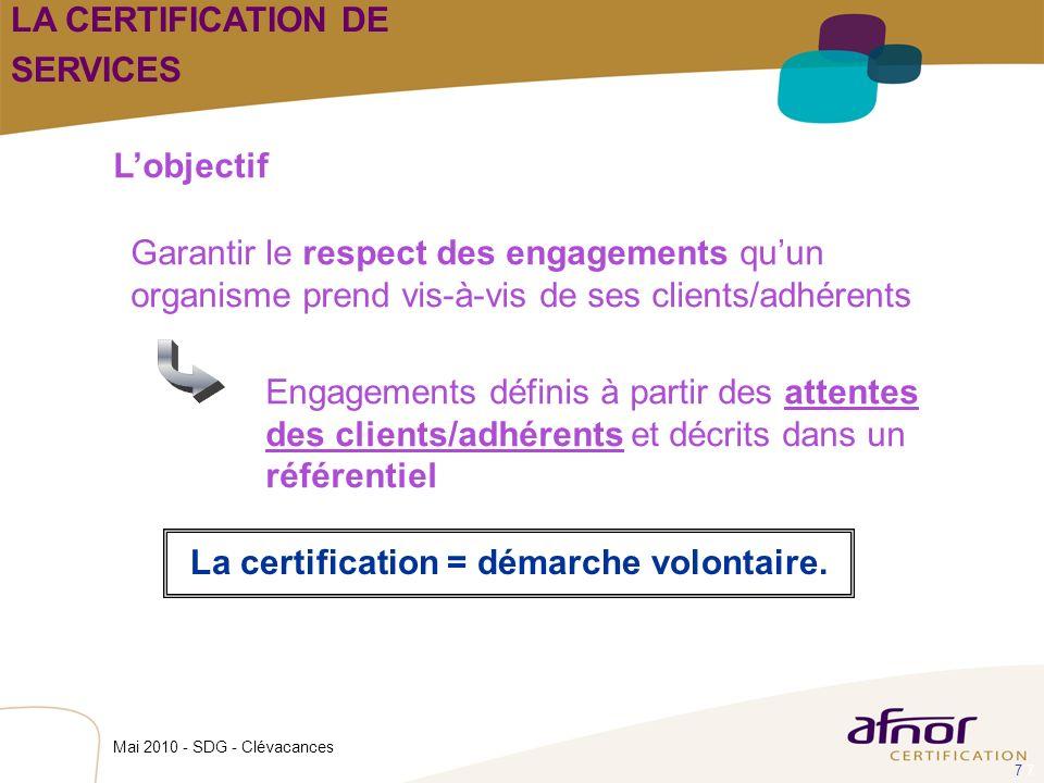 La certification = démarche volontaire.