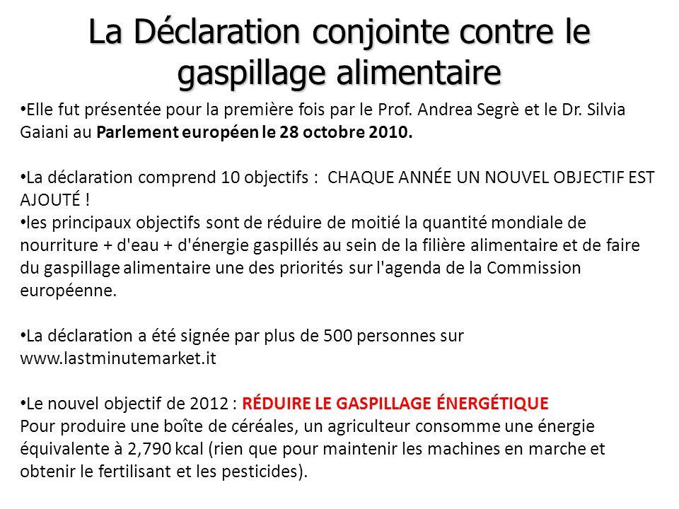 La Déclaration conjointe contre le gaspillage alimentaire