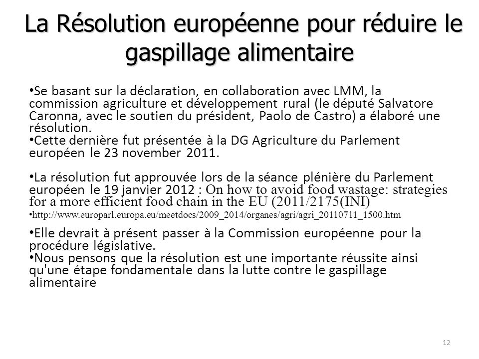 La Résolution européenne pour réduire le gaspillage alimentaire