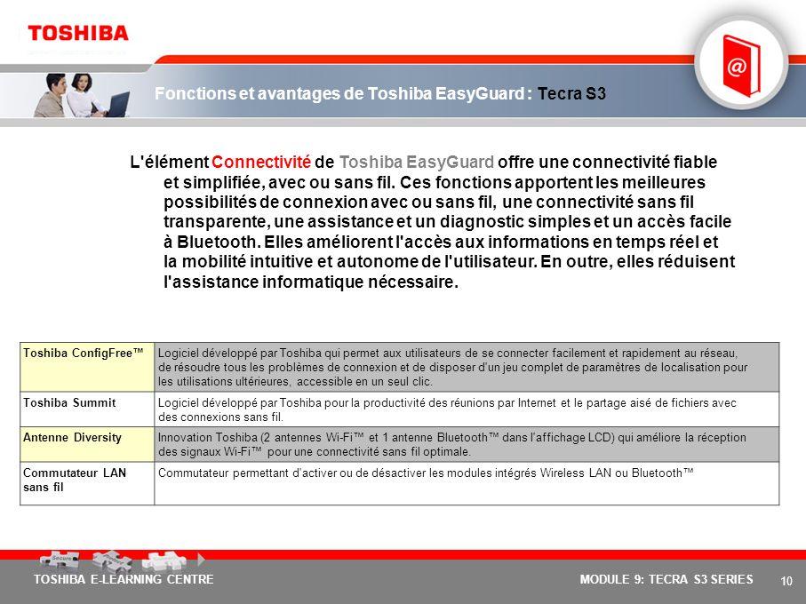 Fonctions et avantages de Toshiba EasyGuard : Tecra S3