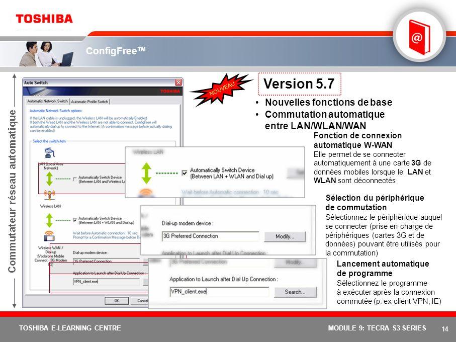 Version 5.7 Commutateur réseau automatique ConfigFree™