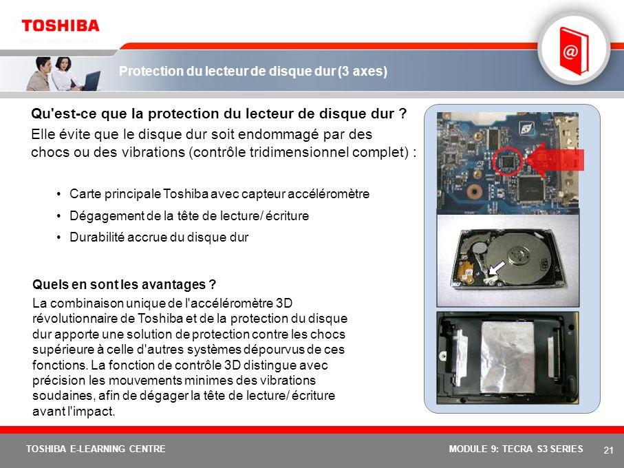 Protection du lecteur de disque dur (3 axes)