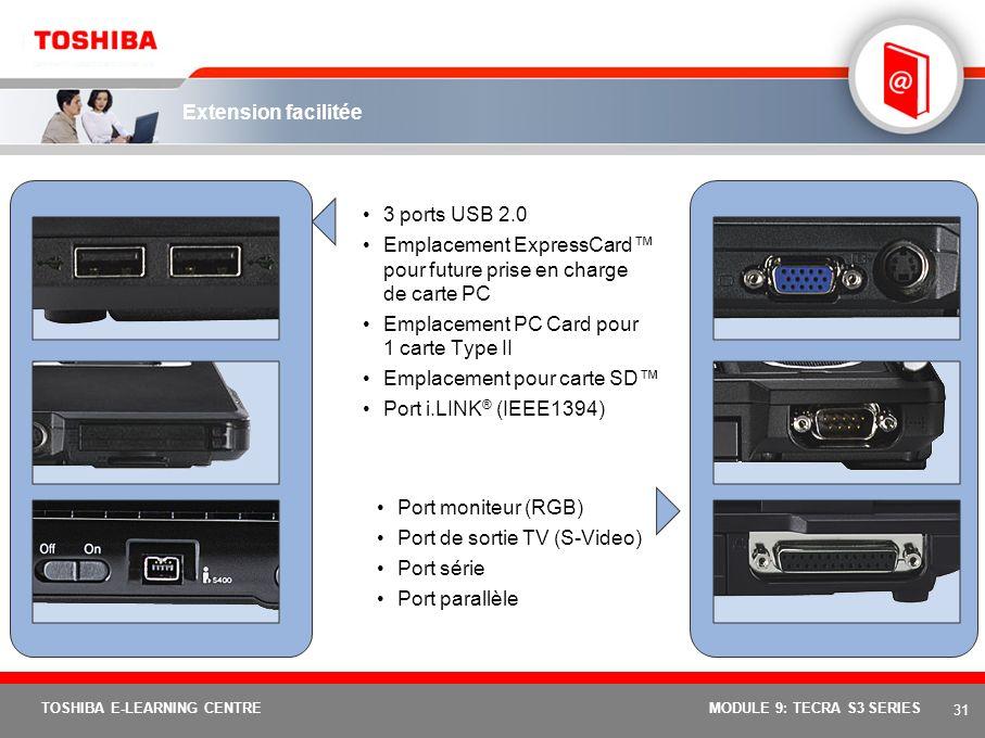 Emplacement ExpressCard™ pour future prise en charge de carte PC