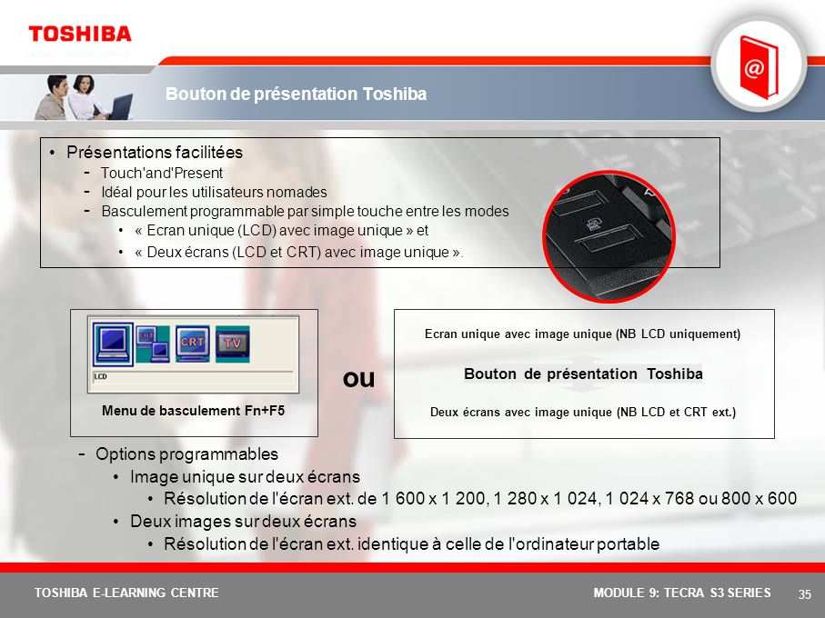 Bouton de présentation Toshiba